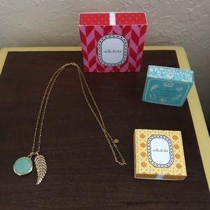 Stella & Dot gold chain, feather & stone locket